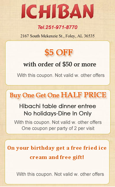 Ichiban steakhouse coupons