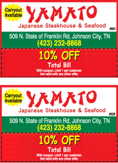YAMATO JAPANESE STEAKHOUSE - coupon - Online Coupons ...